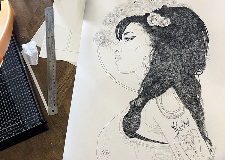 citrine press drawing of amy winehouse